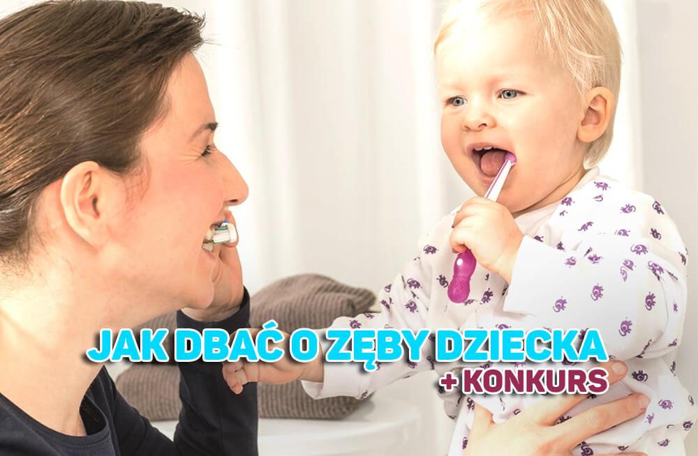 Jak dbać o zęby dziecka mama i dziecko myją razem ząbki