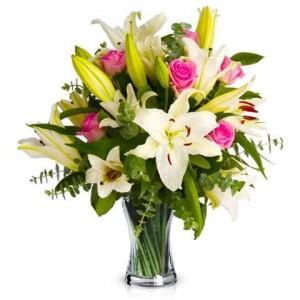 Miłość lilie białe i różowe
