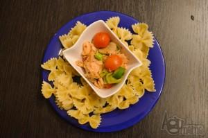 pasta z łososiem prezentacja dania