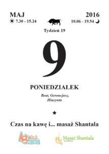 Czas na kawę i masaż Shantala kartka z kalendarza