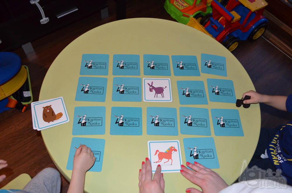nauka zapamiętywania karty Memory na stoliku