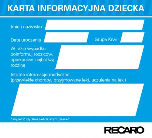 Karta informacyjna Dziecka Recaro