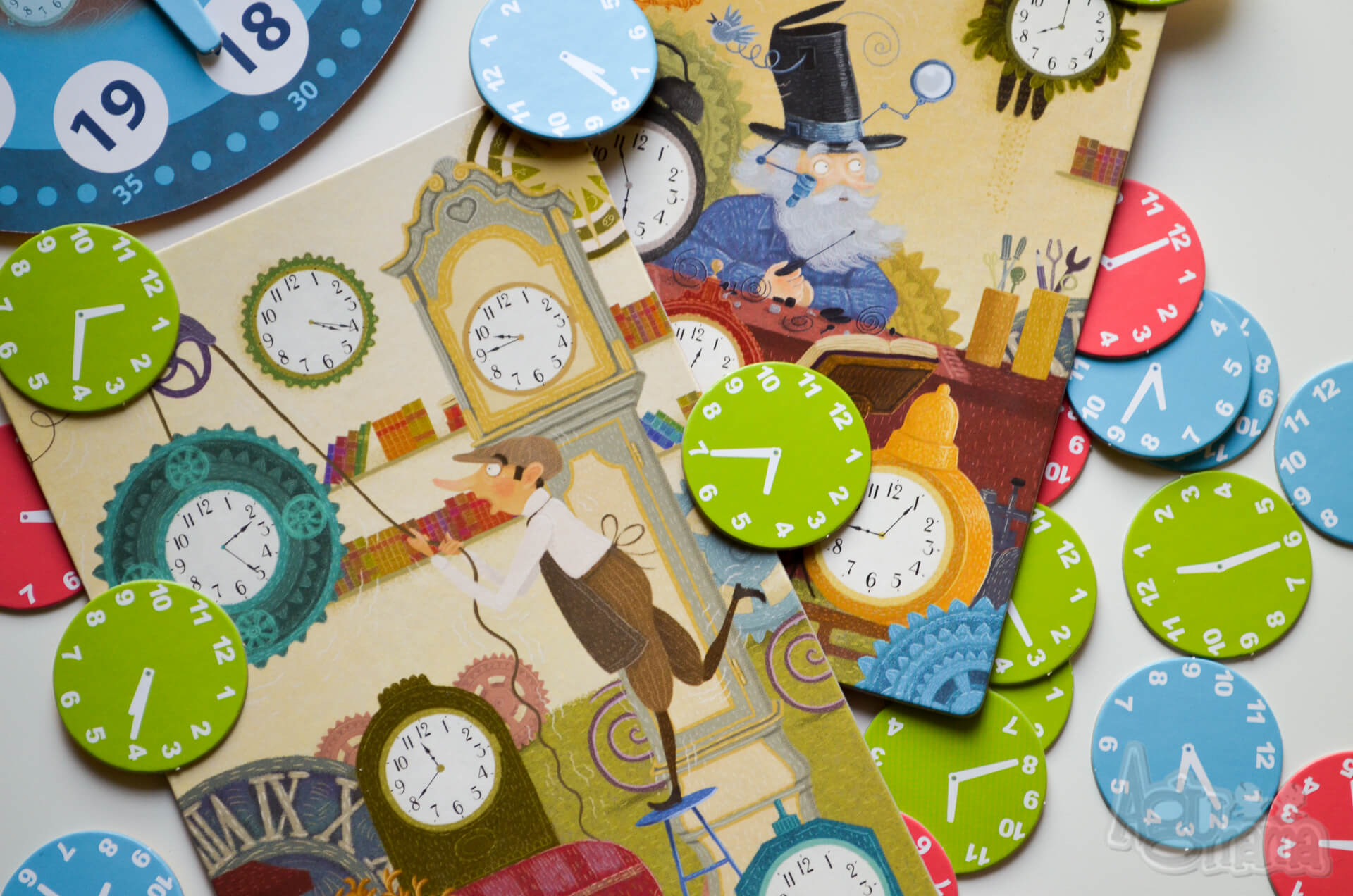gra edukacyjna zegar kolorowe żetony
