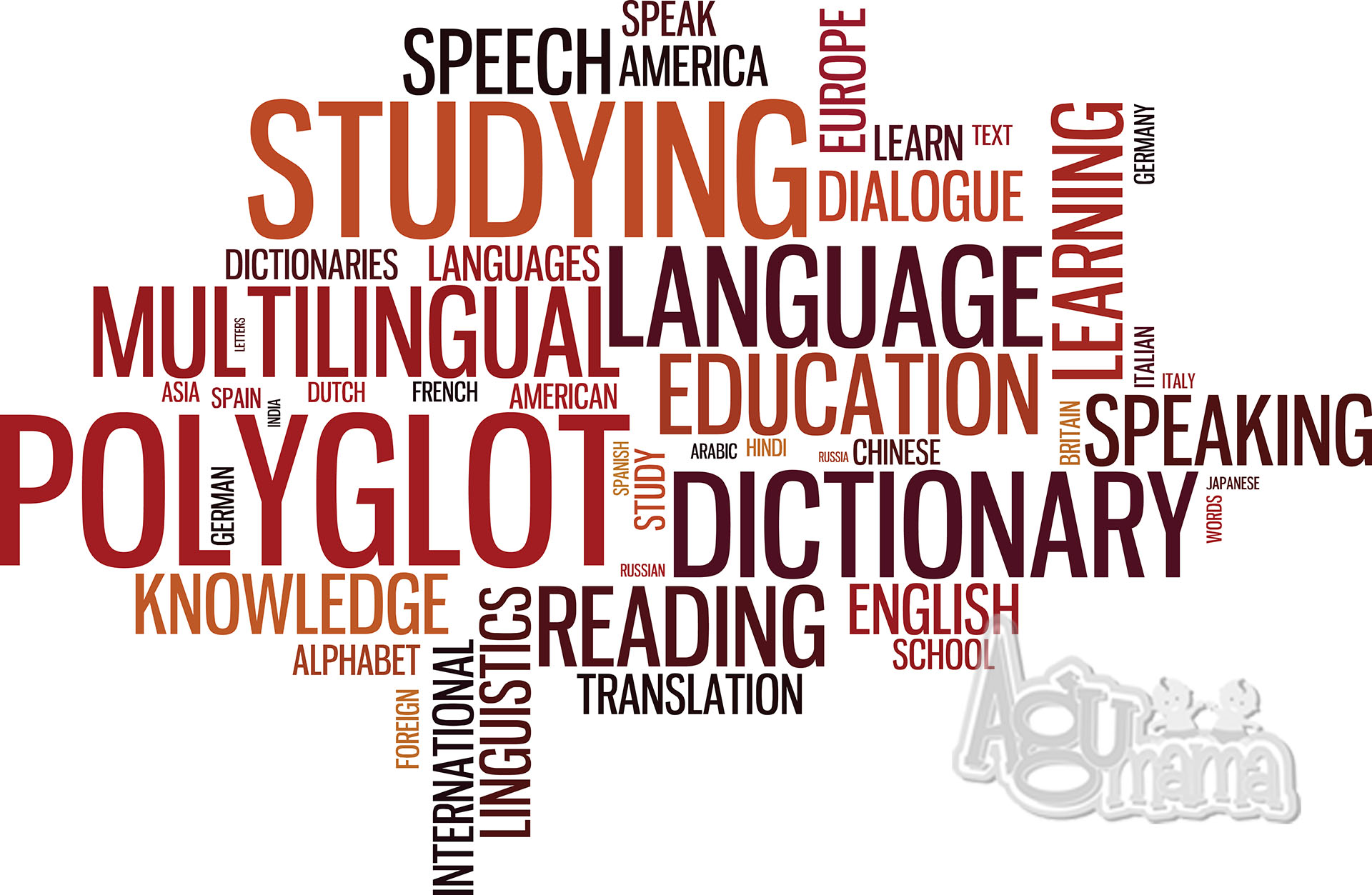 chmura tagów dotyczących nauki języków